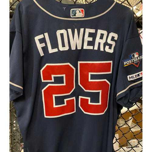 Photo of Tyler Flowers Game Used Road Navy NLDS Jersey - Worn 5/7/19 and 10/6/19