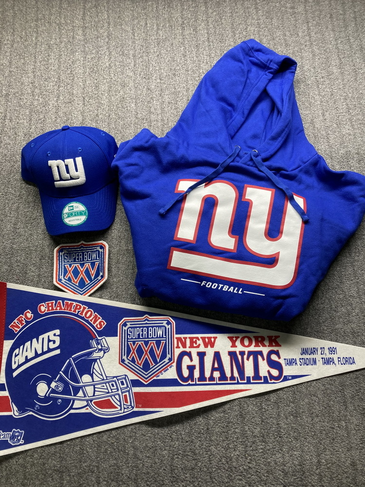 Giants Bundle  Super Bowl 25 Pennant + Patch + Hat and Sweatshirt L