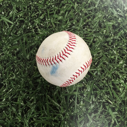 Photo of Game-Used Baseball KC@MIL 07/20/21 - Mike Minor - Rowdy Tellez (Single); Kolten Wong (Groundout); Willy Adames (Flyout)
