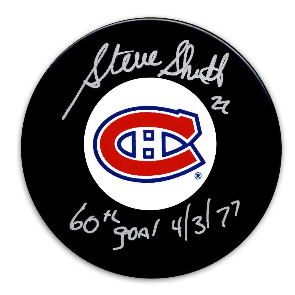 Steve Shutt Montreal Canadiens 60 Goals 4/3/77 Autographed Puck