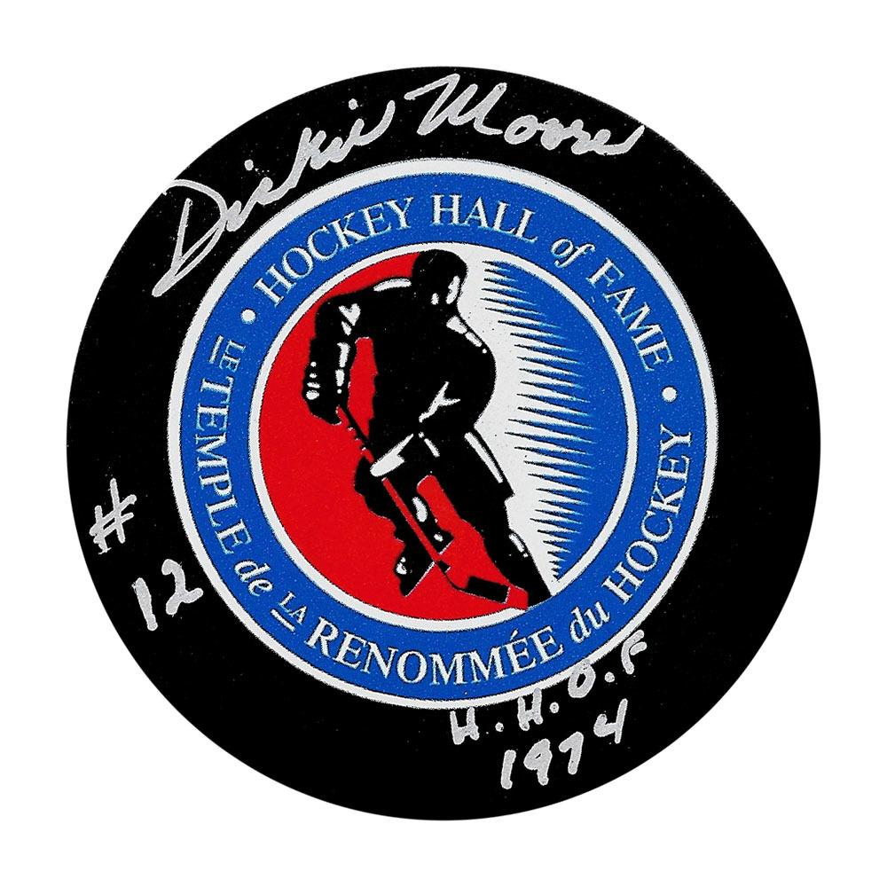 Dickie Moore (deceased) Autographed Montreal Canadiens Puck w/HOF 1974 Inscription