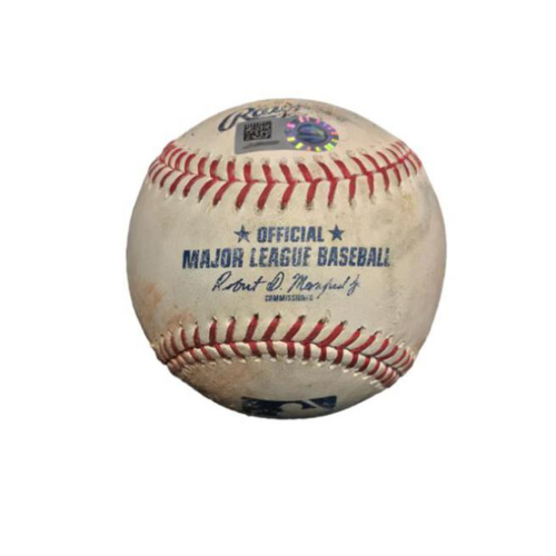 Photo of Game-Used Baseball from Pirates vs. Brewers on 7/17/17 - Thames Single, Braun Single