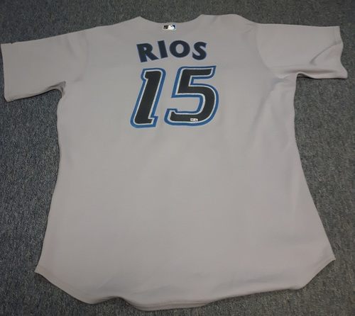 Photo of Authenticated Game Used Jersey - #15 Alex Rios (September 26, 2007): 2-for-3 with 1 Run, 1 RBI and 2 Walks. Size 48.