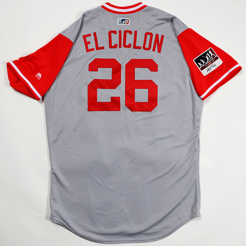 "Photo of Raisel ""El Ciclon"" Iglesias Cincinnati Reds Game-Used 2018 Players' Weekend Jersey"