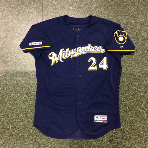 Photo of Jesus Aguilar 04/29/19 Game-Used Navy Ball & Glove Jersey - 2 HR Game