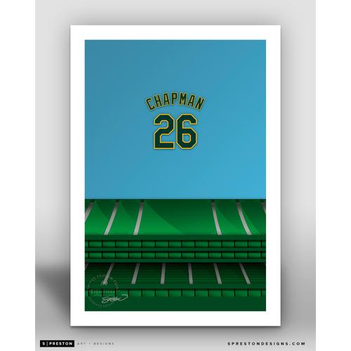 Photo of Minimalist Oakland Coliseum Matt Chapman Player Series Art Print by S. Preston - Limited Edition
