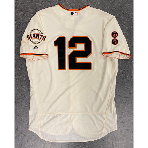 Photo of 2016 Game Used Jersey - Home Crème - worn by #12 Joe Panik - authenticated for 8/28/16 vs ATL - 3 for 4, 4 RBI, 2 Runs - Giants Win 14-3 - Size 48