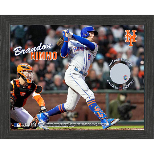 Photo of Brandon Nimmo Game-Used Jersey Plaque