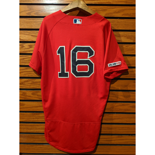 Photo of Andrew Benintendi Game Used Home Red Jersey