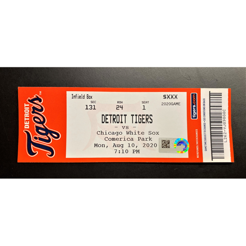 Photo of 8/10/20 - Detroit Tigers vs Chicago White Sox Comerica Park Home Game #8 Limited Edition Full Game Ticket (MLB AUTHENTICATED)