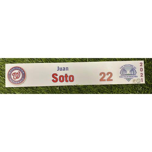 Photo of Juan Soto 2021 Game-Used Spring Training Locker Tag