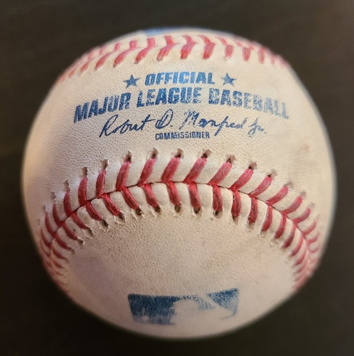 Photo of Authenticated Game Used Baseball: Strikeouts by Gerrit Cole against Alejandro Kirk and Josh Palacios (Apr 12, 2021 vs NYY). Bottom 2. Game played in Dunedin, FL.