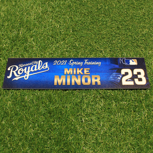 Photo of Team-Issued 2021 Spring Training Locker Tag: Mike Minor #23