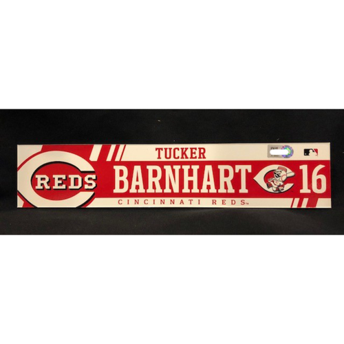 Photo of Tucker Barnhart - Team-Issued Locker Tag - Used During 2017 Gold Glove Season