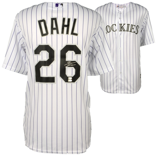 Photo of David Dahl Colorado Rockies Autographed Majestic White Replica Jersey