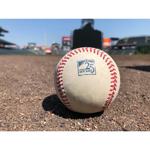 Photo of Colorado Rockies Game-Used Baseball - Marquez v. Dietrich - Single to Cuevas - June 24, 2018
