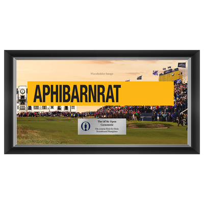 Photo of Kiradech Aphibarnrat, The 147th Open Carnoustie Hole by Hole Scoreboard Nameplate Framed