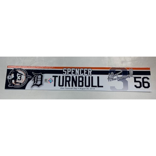 Photo of Team-Issued Alan Trammell Number Retirement Day Locker Name Plate: Spencer Turnbull