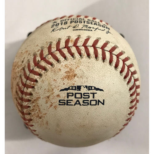 Photo of Game-Used Baseball - NLDS Game 3, 10/7/18  - Sean Newcomb pitched to Kike Hernandez, ball.