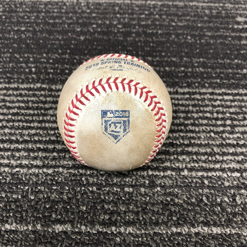 Photo of 2018 Spring Training Game Used Baseball - 3/23/18 vs. Kansas City Royals - B-1: Jakob Junis to Buster Posey - Foul Back to Screen