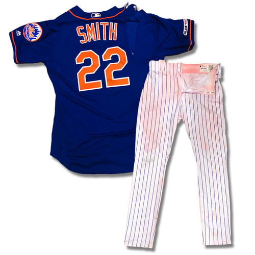 Photo of Dominic Smith #22 - Game Used Blue Alt. Home Jersey and White Pinstripe Pants Combo - Pinch Hit Walk-Off 3-Run Home Run - Mets vs. Braves - 9/29/19