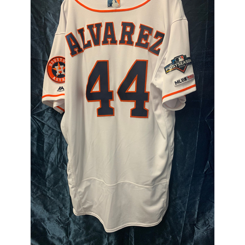 Photo of 2019 Game-Used Yordan Alvarez White Postseason Home Jersey (Size 48)