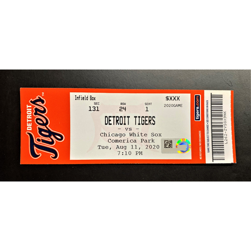 Photo of 8/11/20 - Detroit Tigers vs Chicago White Sox Home Game #9 Comerica Park Limited Edition Full Game Ticket - Burrows 1st Career Strikeout Game (MLB AUTHENTICATED)