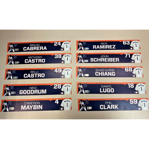 Photo of Detroit Tigers 2020 Comerica Park Clubhouse Locker Name Plate Set 1: Featuring Miguel Cabrera, Willi Castro, Niko Goodrum, Cameron Maybin & more! (MLB AUTHENTICATED)