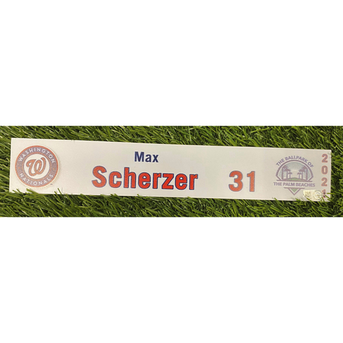 Photo of Max Scherzer 2021 Game-Used Spring Training Locker Tag