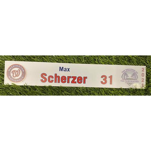 Max Scherzer 2021 Game-Used Spring Training Locker Tag