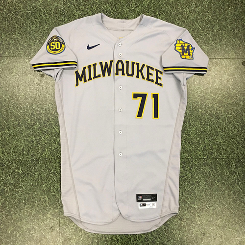 Photo of Josh Hader 2020 Team-Issued Road Grey Jersey