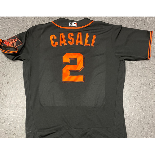Photo of 2021 Game Used Black Home Alt Jersey worn by #2 Curt Casali on 8/14 vs. COL - Size 44