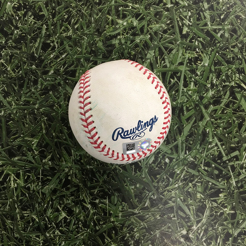 Photo of Game-Used Baseball LAD@MIL 04/29/21 - Eric Lauer - Corey Seager: Single