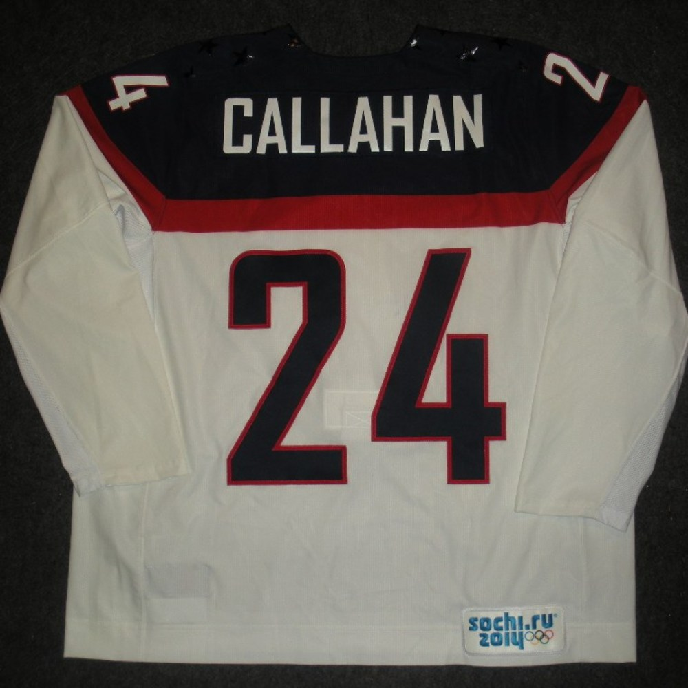 Ryan Callahan - Sochi 2014 - Winter Olympic Games - Team USA White Game-Worn Jersey - Worn in 2nd and 3rd Periods vs. Slovakia, 2/13/14