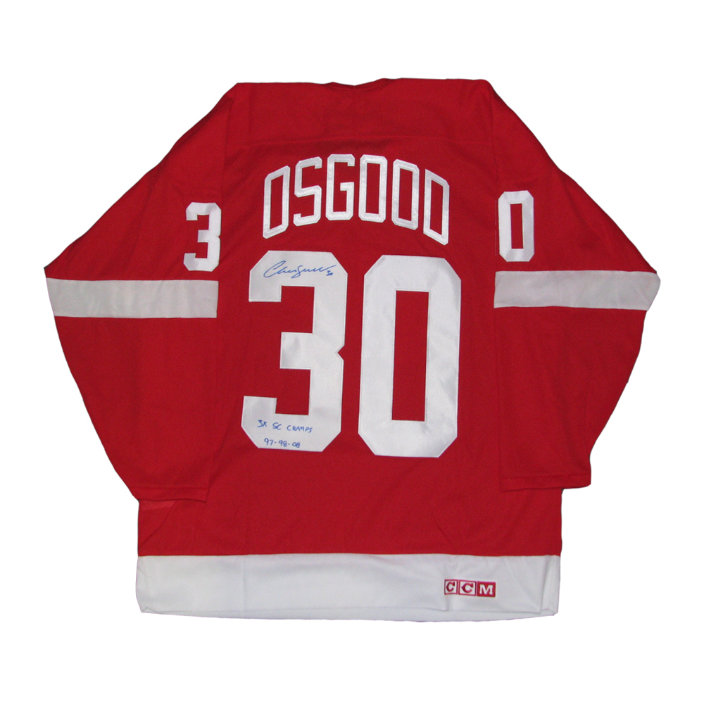 CHRIS OSGOOD Signed Detroit Red Wings Red CCM Jersey with 3X SC Champs Inscription
