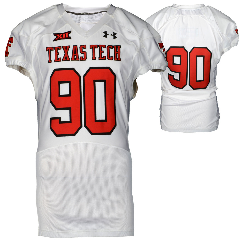 Texas Tech Red Raiders Game-Used White #90 Jersey Used During Victories Against Arkansas and Texas during the 2015 Season - Size 48