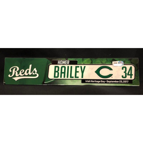 Photo of Homer Bailey - Team-Issued Locker Tag - Used for Irish Heritage Day