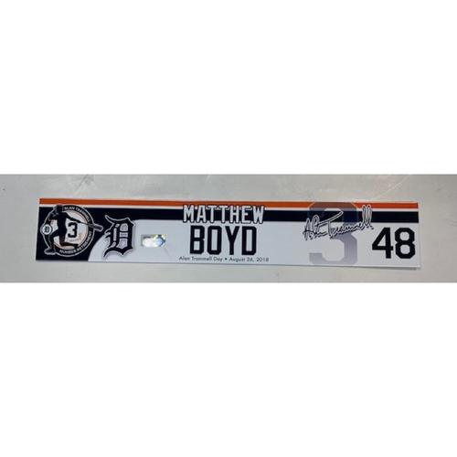 Photo of Game-Used Alan Trammell Number Retirement Day Locker Name Plate: Matt Boyd
