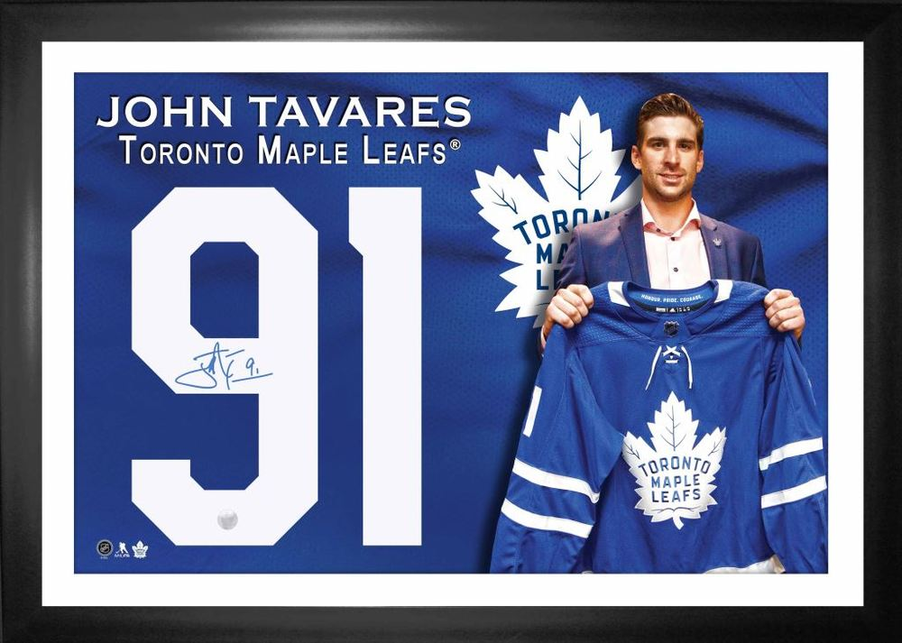 John Tavares Signed Numbers Framed with Printed Background Maple Leafs
