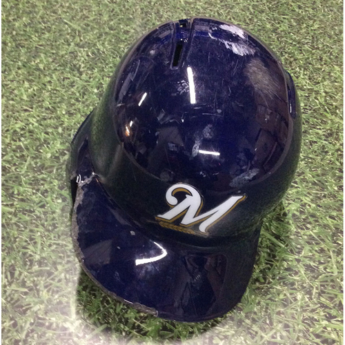 Photo of Travis Shaw 2018 Game-Used Navy Alternate Batting Helmet