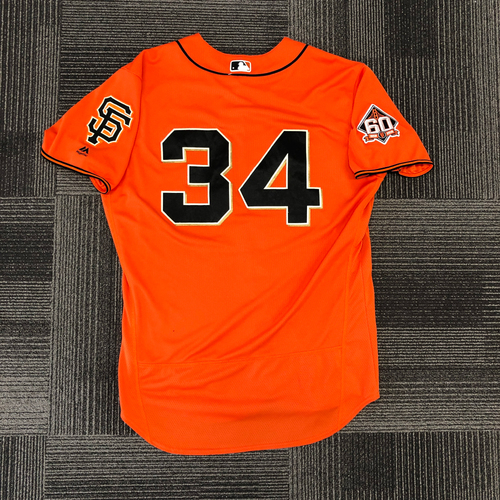 Photo of 2018 Game Used Orange Home Alt Jersey worn by #34 Chris Stratton on 9/14 vs. Colorado Rockies - First Career Complete Game and Shutout & 9/28 vs. Los Angeles Dodgers - Size 48