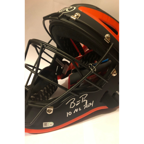 "Photo of Buster Posey Autographed ""10 NL ROY"" Full-Size Catcher's Mask"
