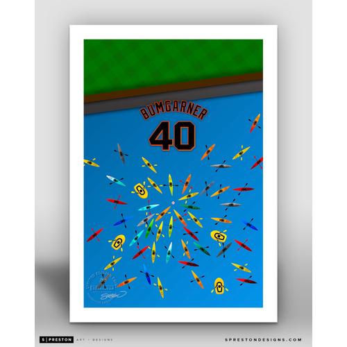 Minimalist Oracle Park Madison Bumgarner Player Series Art Print by S. Preston - Limited Edition