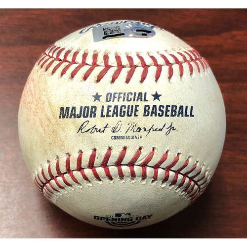 Photo of Opening Day Game Used Baseball: Yandy Diaz double off Justin Verlander - March 28, 2019 v HOU