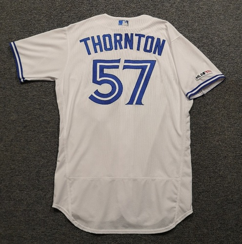 Photo of Authenticated Game Used Jersey: #57 Trent Thornton (May 24, 19 vs SDP: 6 IP, 4 Hits, 3 ER, 3 BB, 10 Ks). Size 46