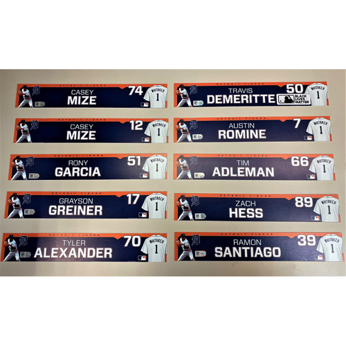 Photo of Detroit Tigers 2020 Comerica Park Clubhouse Locker Name Plate Set 2: Featuring Casey Mize, Tyler Alexander, Grayson Greiner, Austin Romine & more! (MLB AUTHENTICATED)