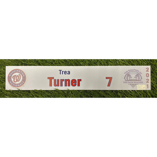 Photo of Trea Turner Game-Used 2021 Spring Training Locker Tag