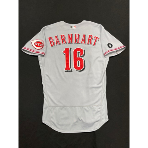 Photo of Tucker Barnhart -- Game-Used Jersey -- Worn During Wade Miley No-Hitter on May 7, 2021 -- Reds @ Indians -- Size 44
