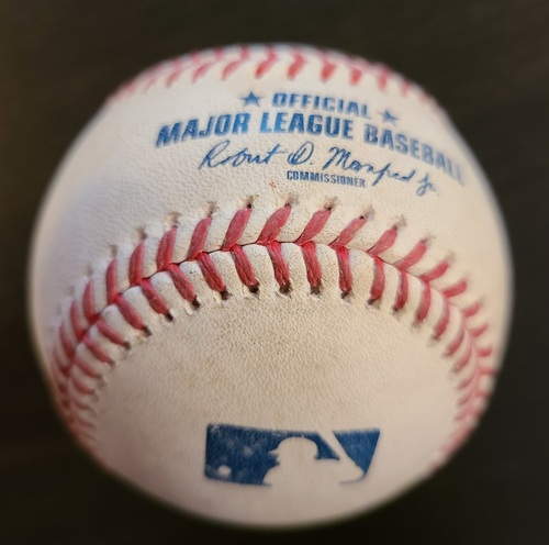 Photo of Authenticated Game Used Baseball: Single by Vladimir Guerrero Jr. against Jameson Taillon (Apr 13, 2021 vs NYY). Bottom 3. Game played in Dunedin, FL.