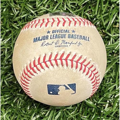 Photo of Game Used Baseball: Francisco Mejia 2RBI single off Domingo German - Joey Wendle & Willy Adames Score - Bottom 2 - April 10, 2021 v NYY